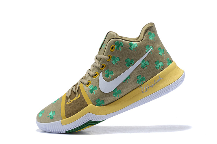 New Nike Kyrie 3 Light Yellow Celtics Shoes
