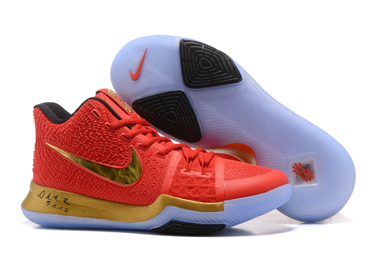 New Nike Kyrie 3 Red Gold Ice Sole Shoes