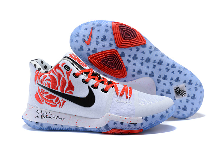 New Nike Kyrie 3 White Red Black Shoes