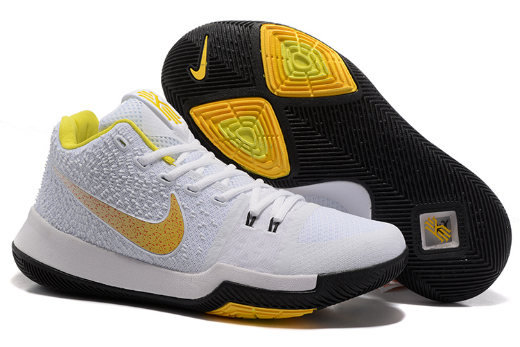 New Nike Kyrie 3 White Yellow Black Shoes