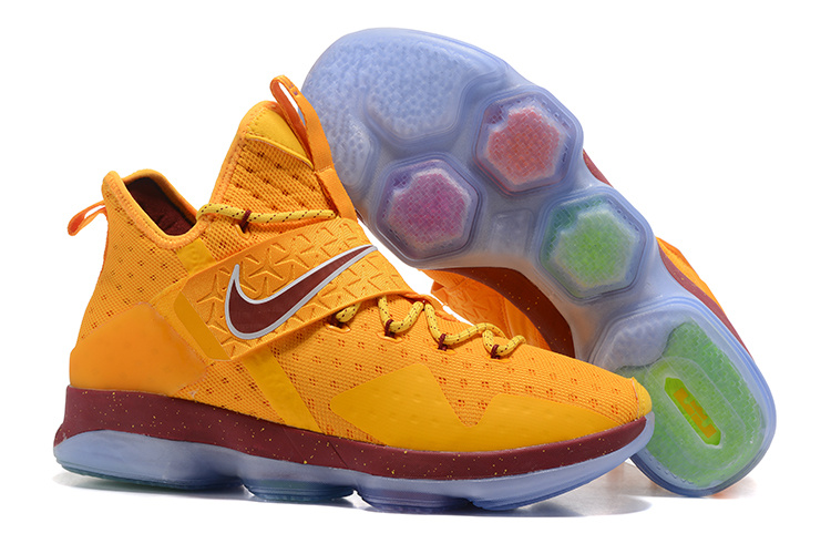 New Nike LeBron 14 Yellow Wine Red Shoes
