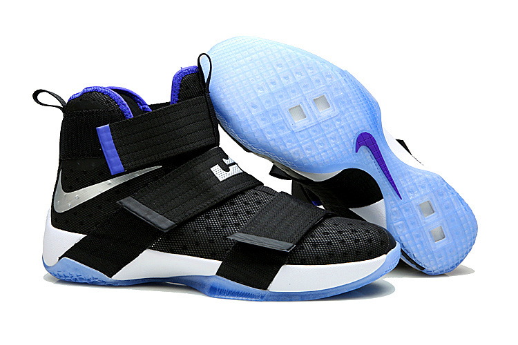 New Nike Lebron Soldier 10 Black White Blue Sole Shoes