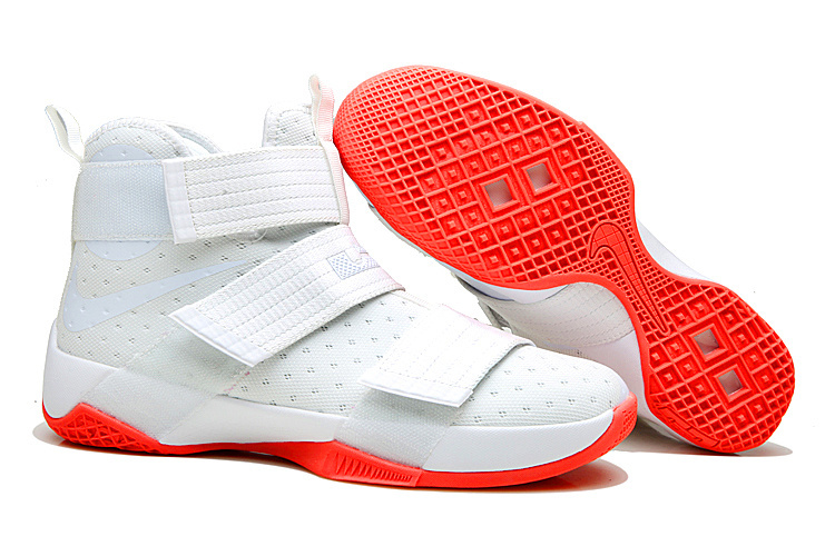 New Nike Lebron Soldier 10 White Fluorscent Red Shoes