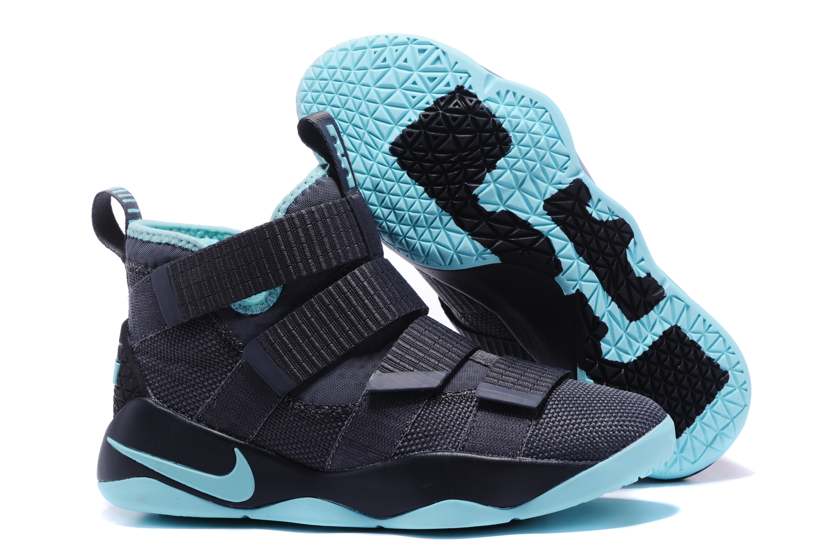 New Nike Lebron Soldier 11 Black Jade Blue Shoes