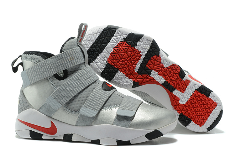 New Nike Lebron Soldier 11 Grey Silver Red Shoes