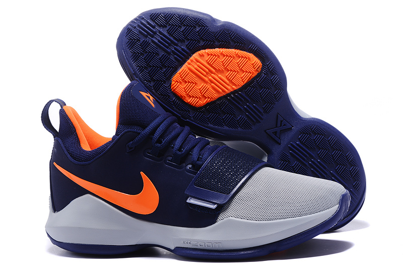 New Nike PG 1 Blue Grey Orange Shoes