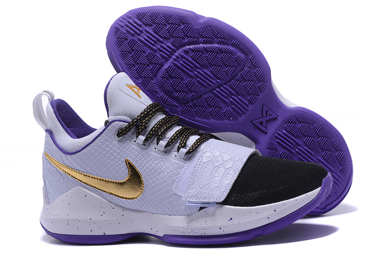 New Nike PG 1 White Black Purple Shoes