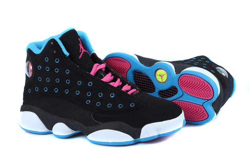 Women's Nike Jordan 13 GS Shoes Black Blue Pink White