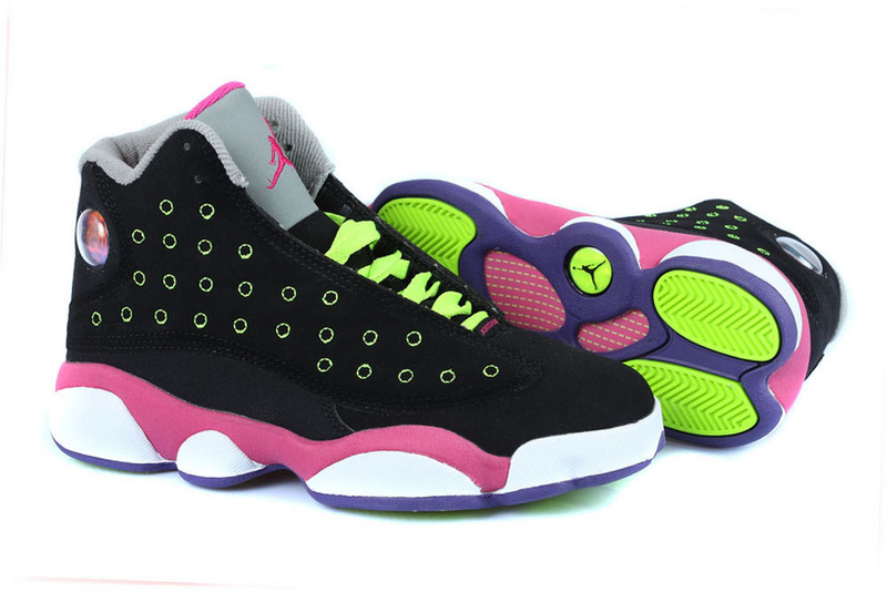 Women's Nike Jordan 13 GS Shoes Black Pink White