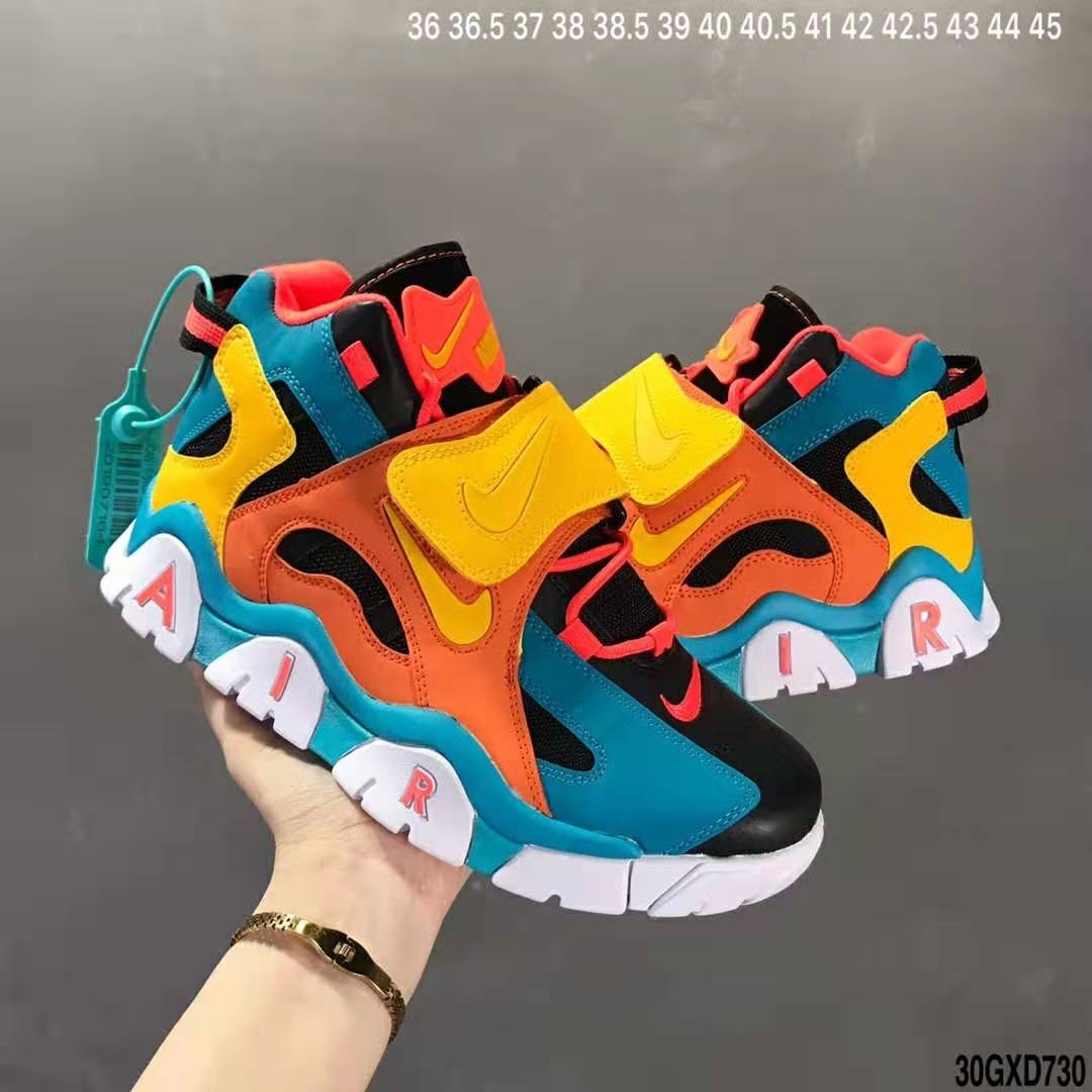 Nike Air Barrage Mid QS Yellow Orange Jade Black White Shoes