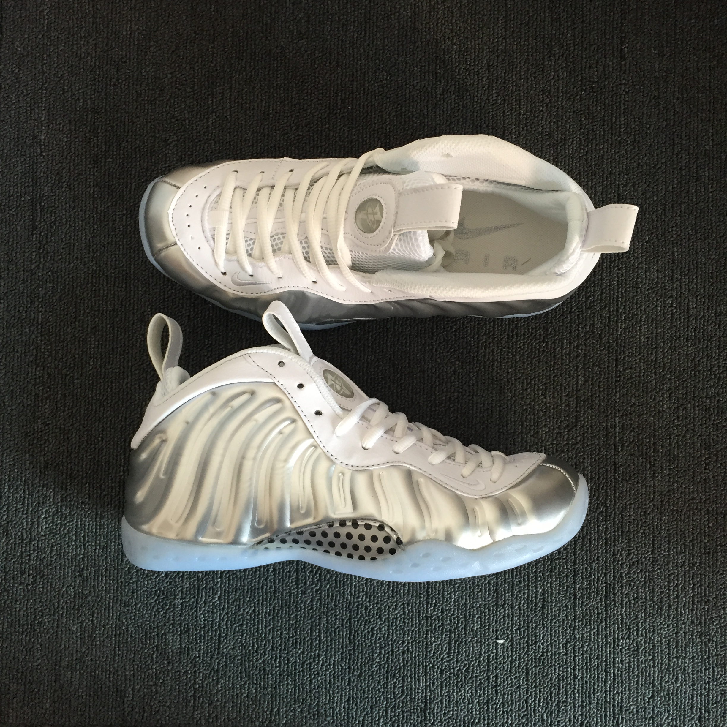 Nike Air Foamposite Pro White Silver Blue Sole Shoes