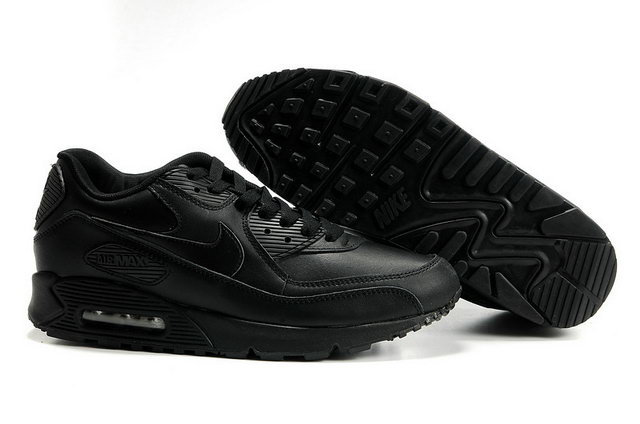 Nike Air Max 90 Leather All Black Shoes