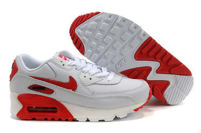 Nike Air Max 90 Leather White Red Shoes