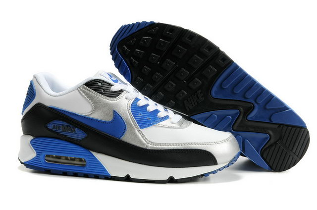 Nike Air Max 90 Mens Premium White Black Blue Silver