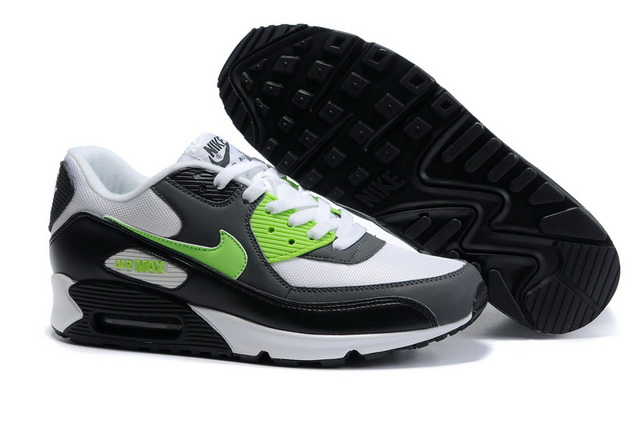 Nike Air Max 90 Mesh Black White Green Shoes