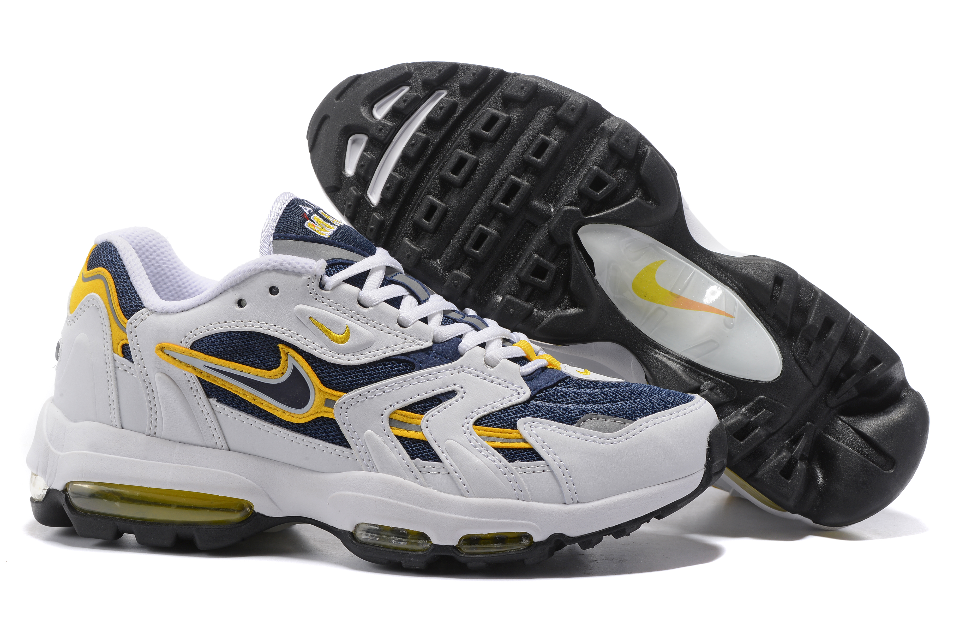 Nike Air Max 96 White Blue Yellow Shoes