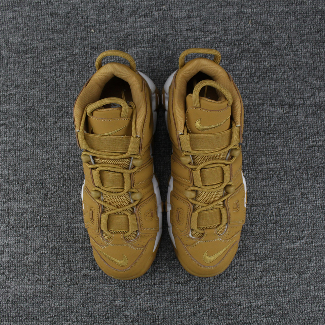 Nike Air More Uptempo 96 Yellow Wheat White Shoes