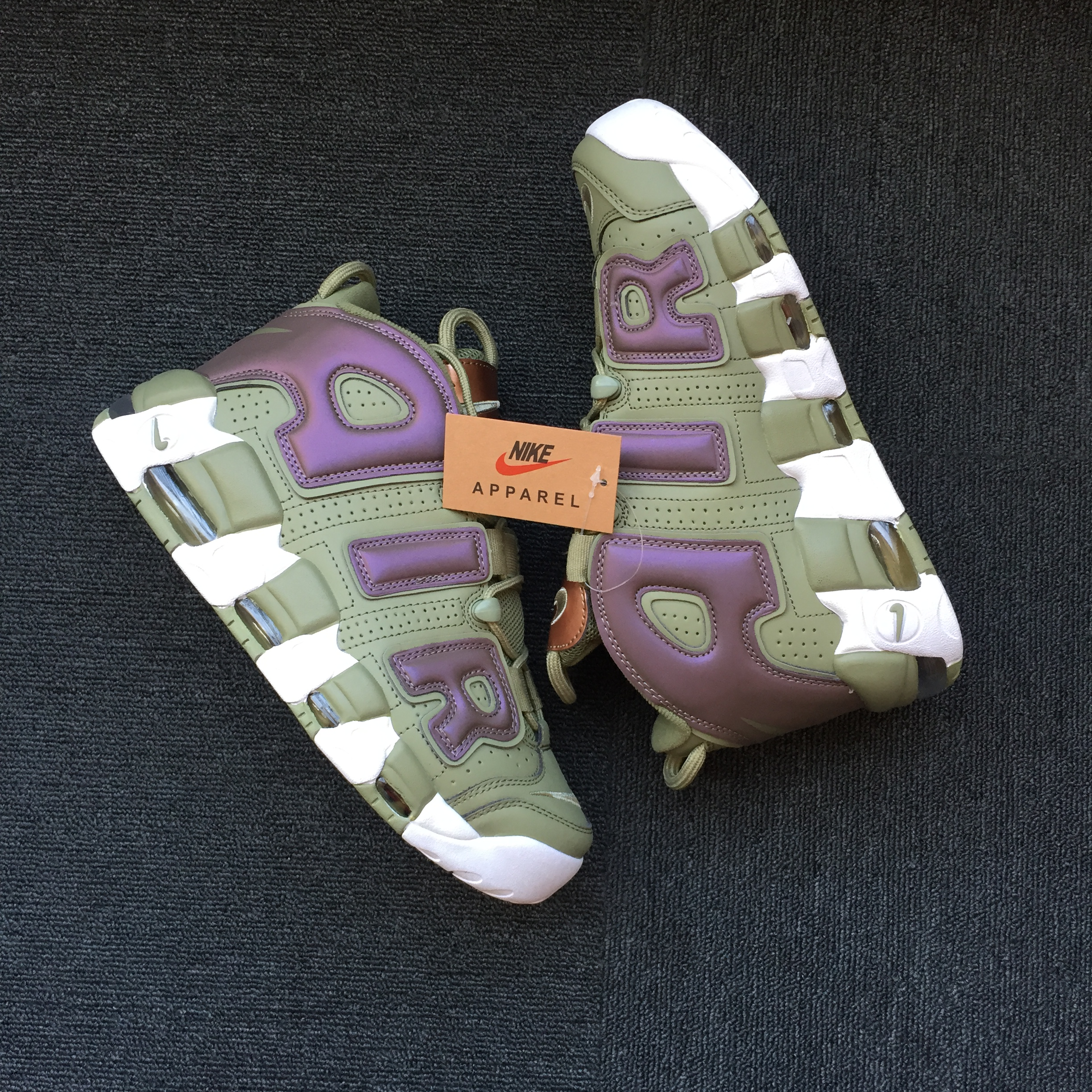 Nike Air More Uptempo Army Green Purple Shoes