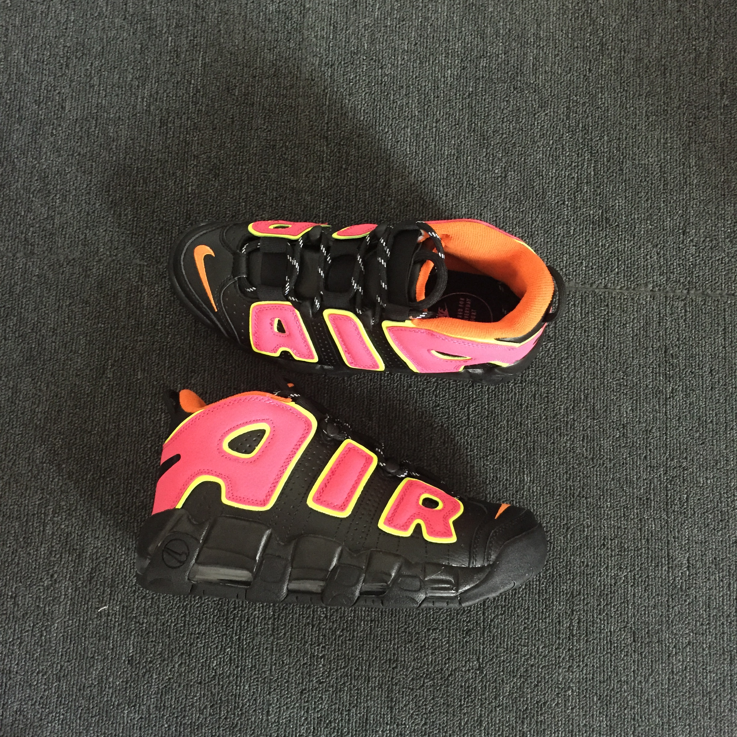 Nike Air More Uptempo Black Peach Fluorscent Shoes
