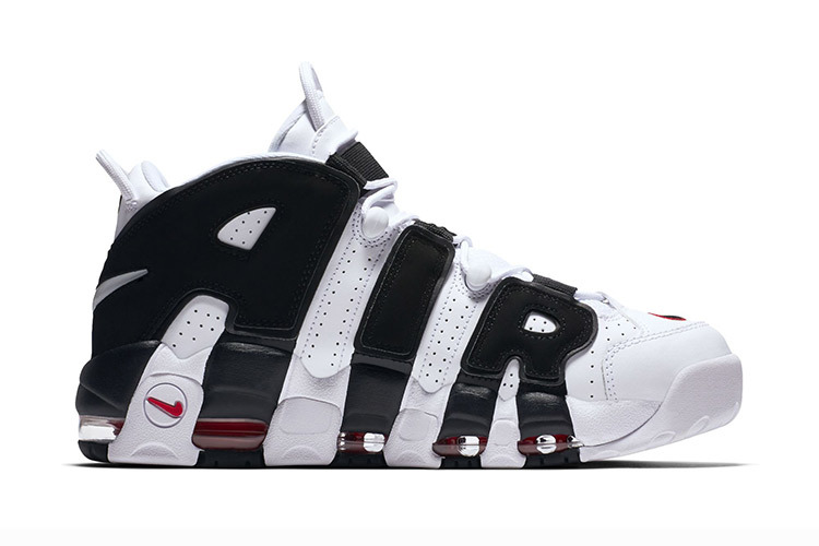 Nike Air More Uptempo Black White Red Shoes