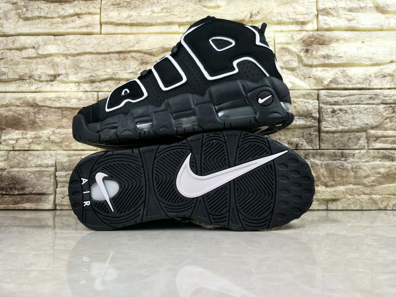 Nike Air More Uptempo Black White Shoes