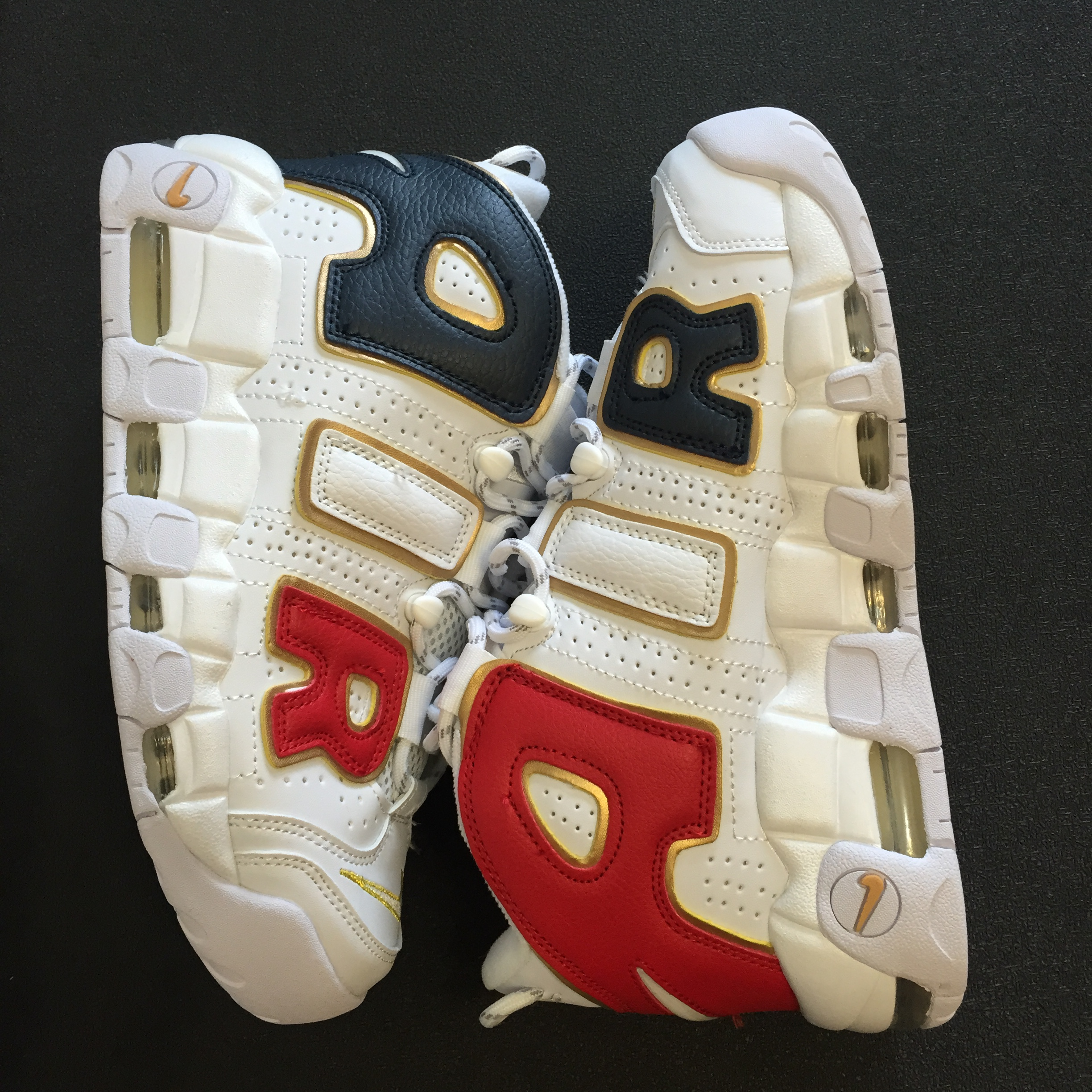 Nike Air More Uptempo QS USA Team White Red Blue Gold Shoes