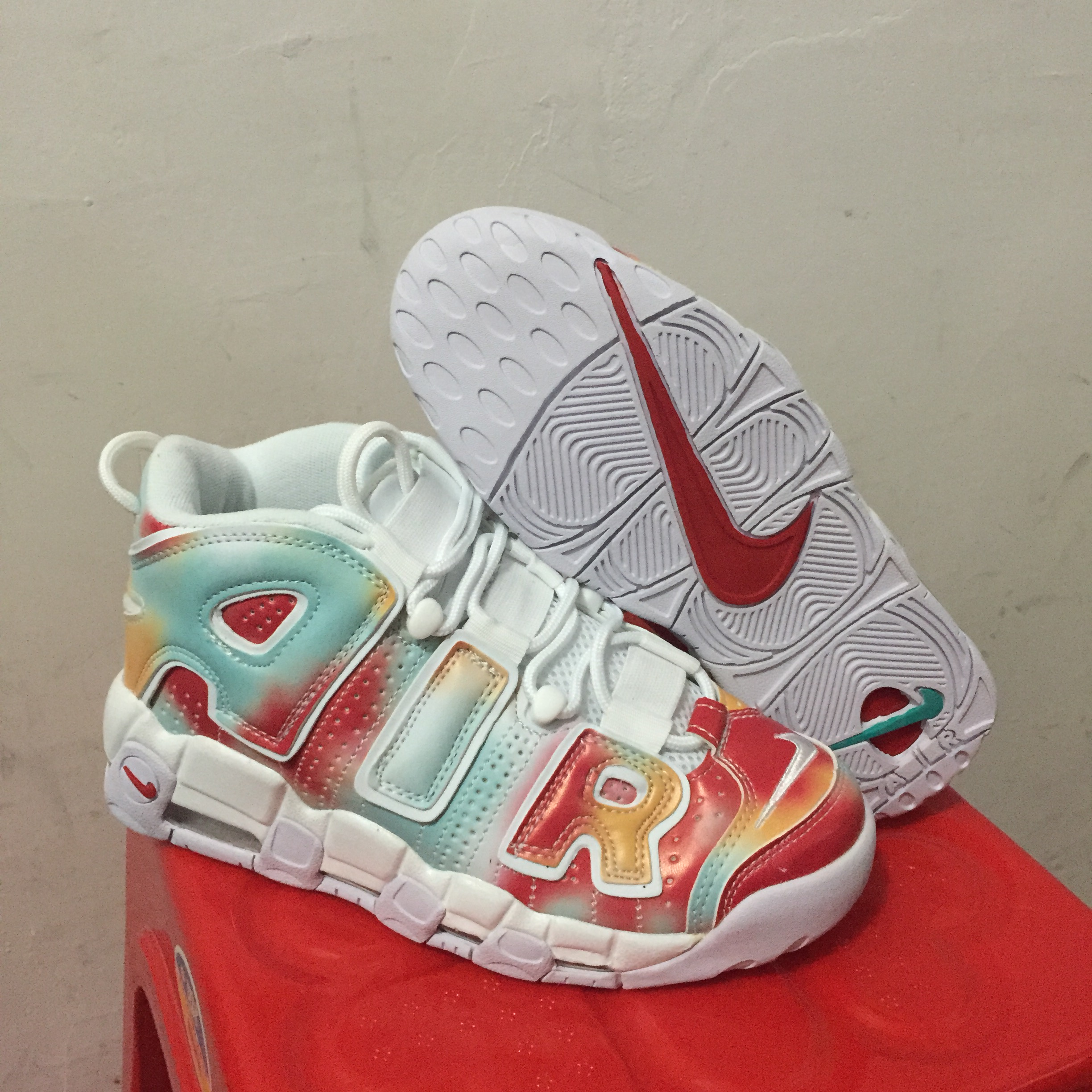 Nike Air More Uptempo Red Green White Shoes