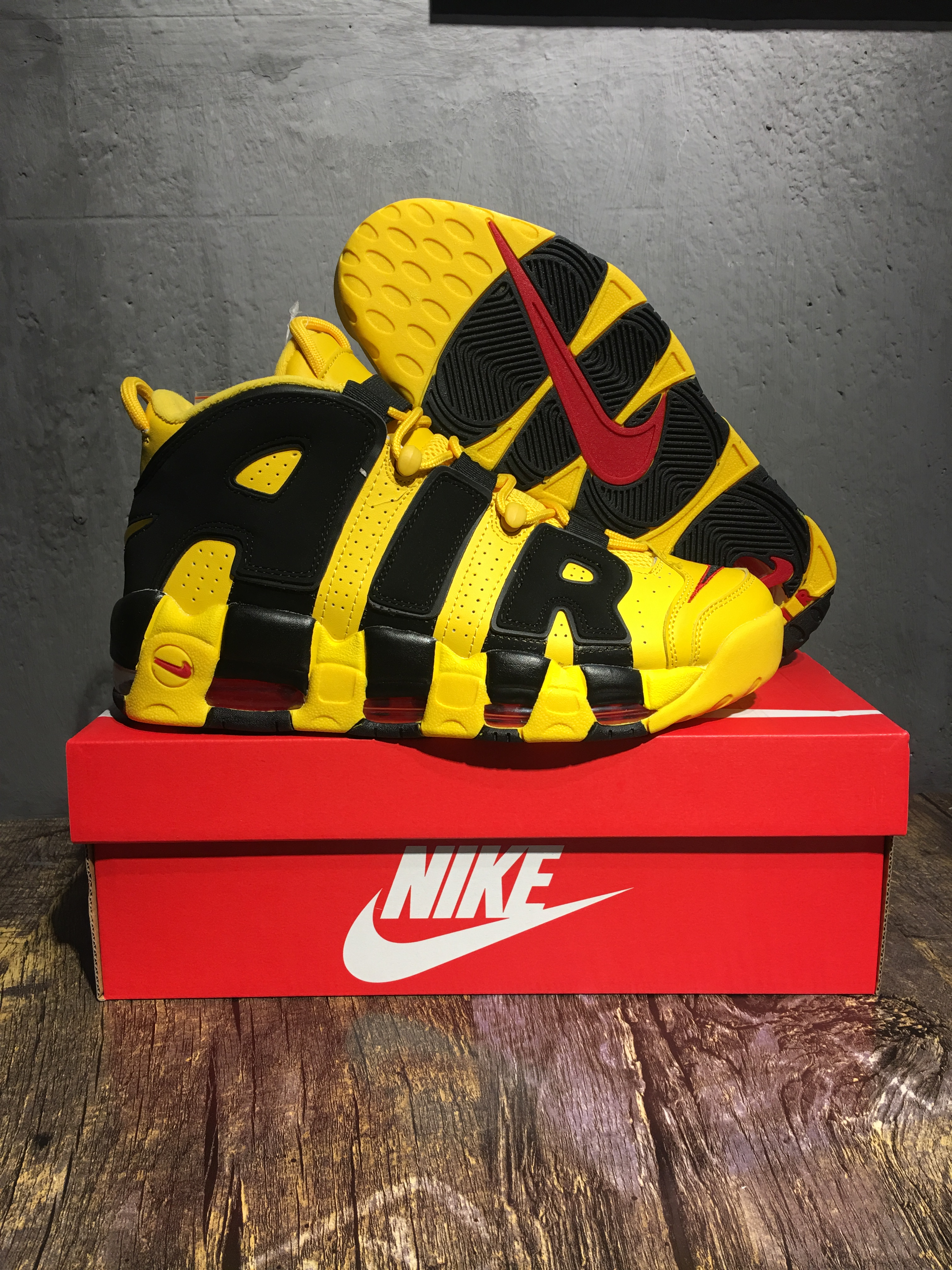 Nike Air Uptempo Yellow Black Shoes For Women