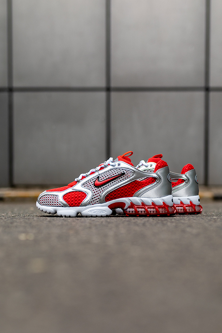 Nike Air Zoom Spiridon Caged 2 Silver Red White Shoes