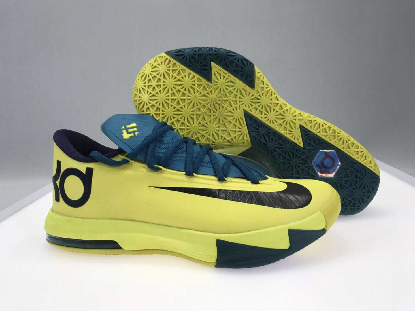 Nike KD 6 Yellow Blue Black Shoes