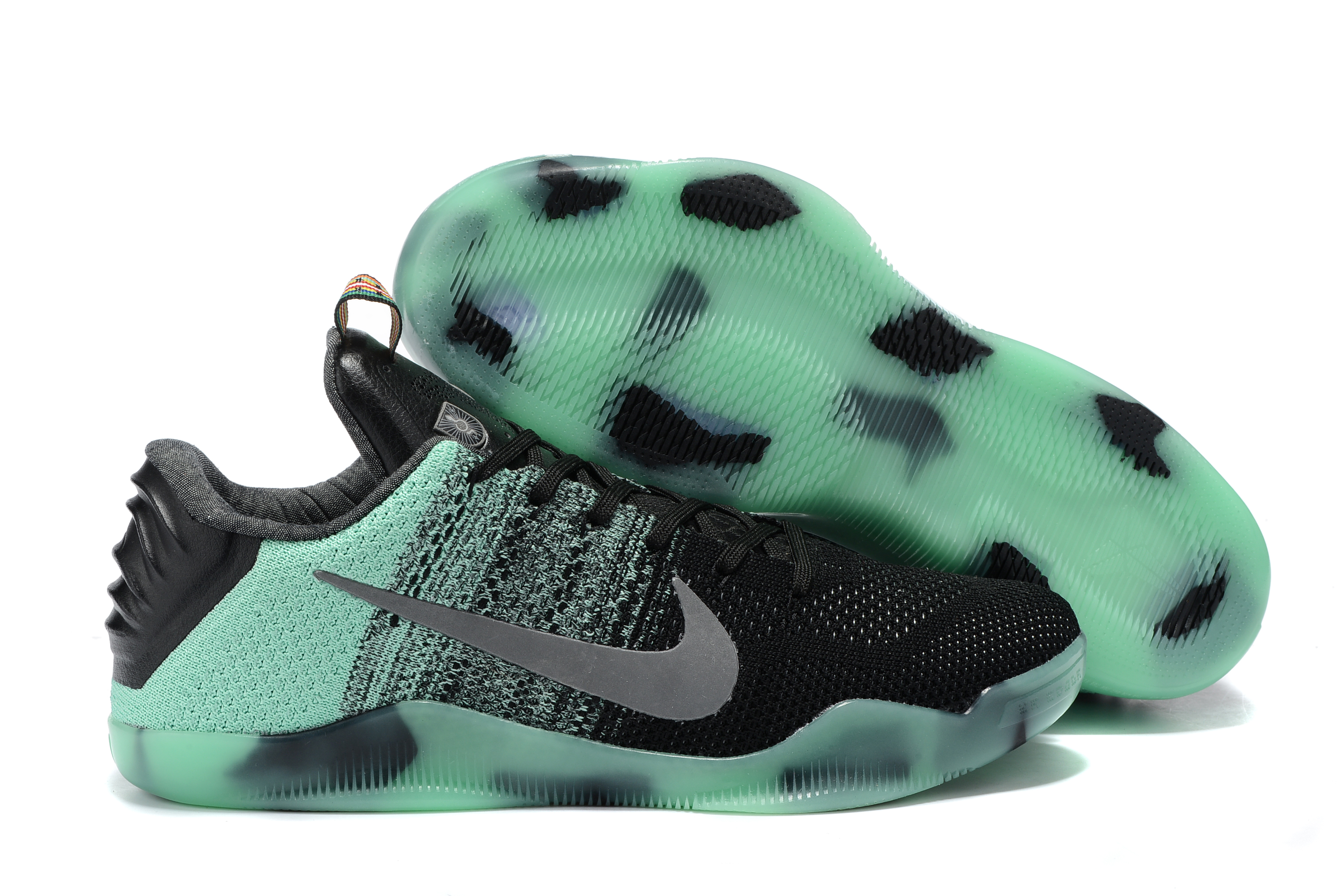 Nike Kobe 11 Flyknit Black Green Silver Shoes