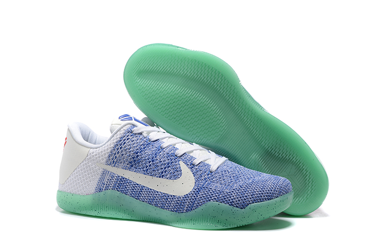 Nike Kobe 11 Flyknit Blue Silver Green Sole Shoes