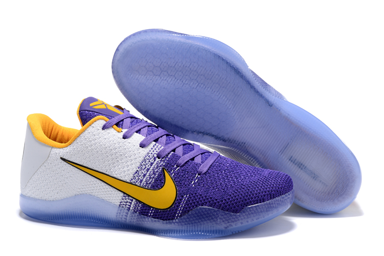 Nike Kobe 11 Flyknit Blue White Yellow Shoes