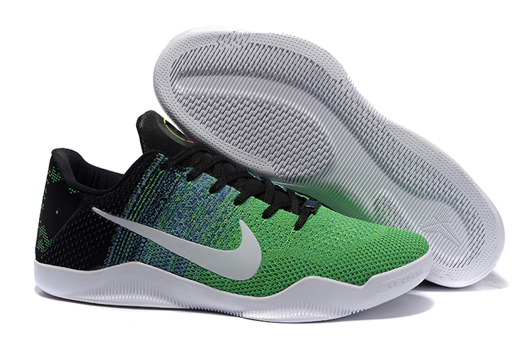 Nike Kobe 11 Flyknit Green Black Silver Shoes