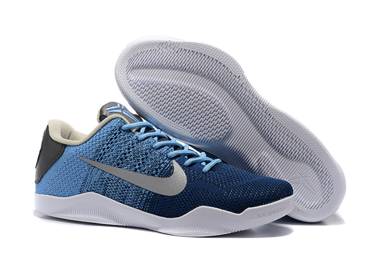Nike Kobe 11 Flyknit Jade Blue Silver White Shoes