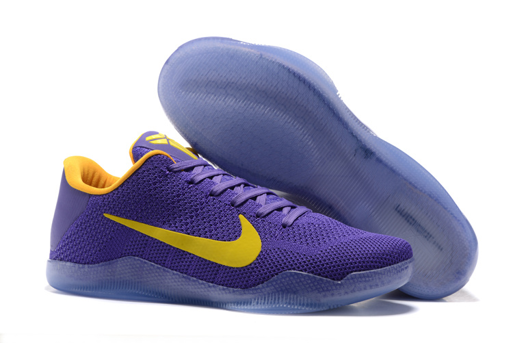 Nike Kobe 11 Flyknit Purple Yellow Shoes