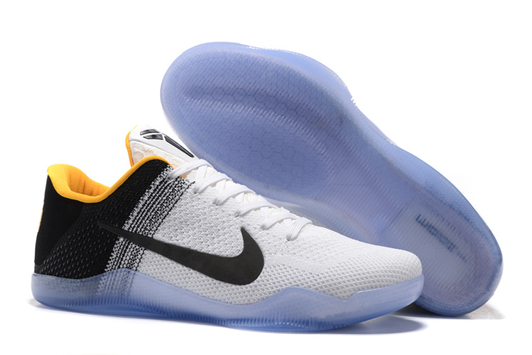 Nike Kobe 11 Flyknit White Black Yellow Shoes