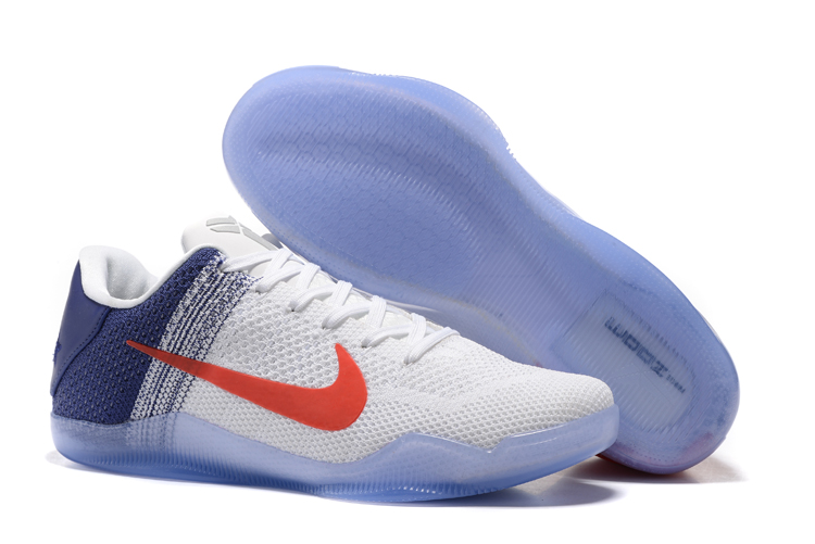 Nike Kobe 11 Flyknit White Blue Red Shoes