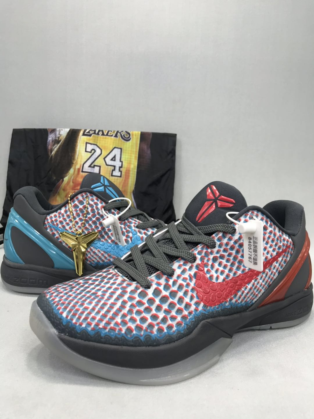 Nike Kobe 6 HollyWood Grey Black Red Blue Shoes