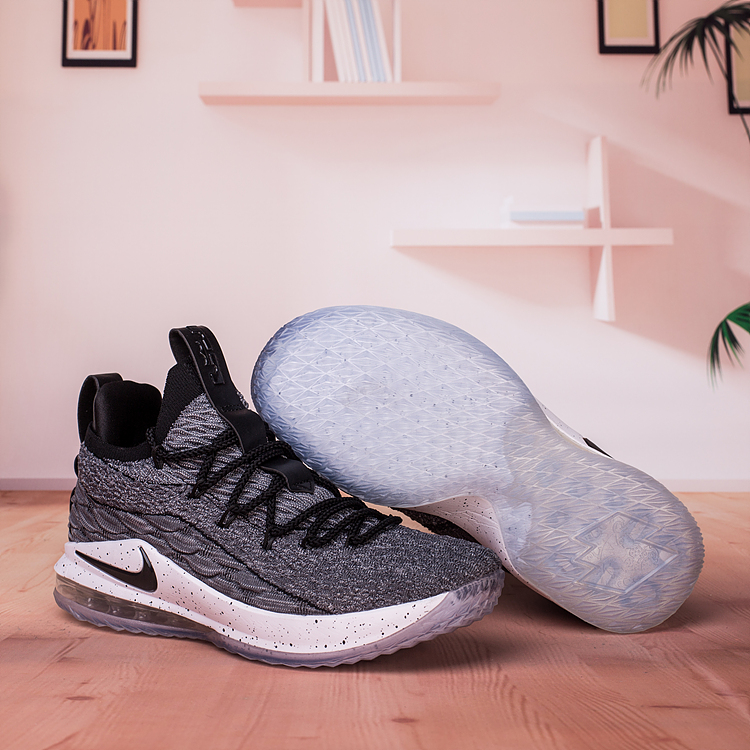 Nike LeBron 15 Low Grey Black White Shoes