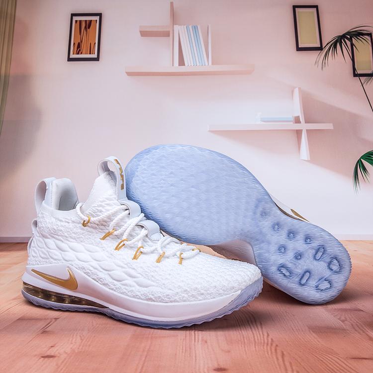 newest 56040 d8c7b Nike LeBron 15 Low White Gold Shoes [18kobe7121] - $80.00 ...