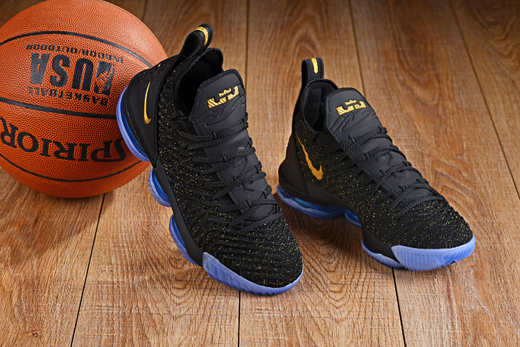 Nike LeBron 16 Black Yellow Blue Sole Shoes
