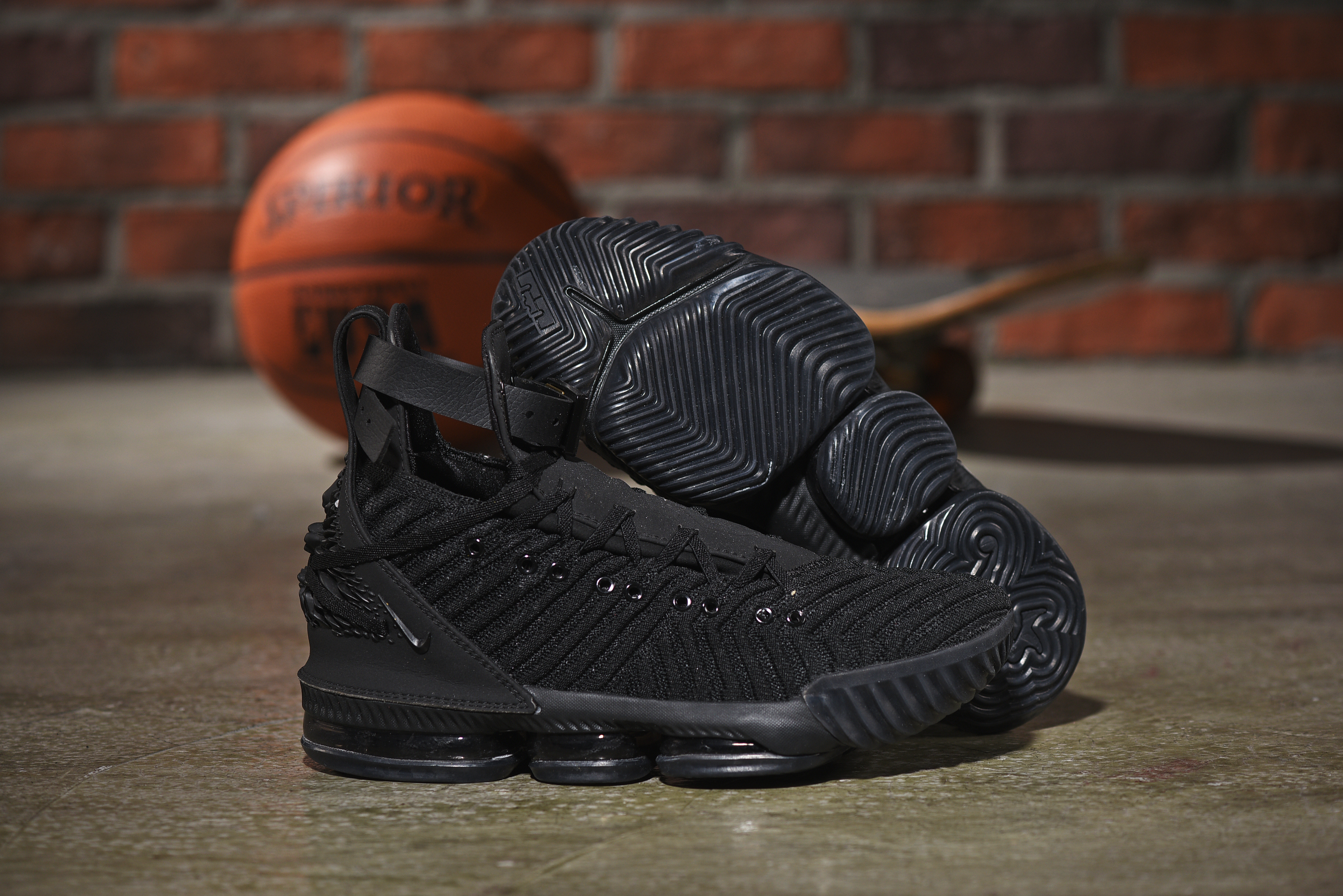 Nike LeBron 16 Emboss All Black Shoes