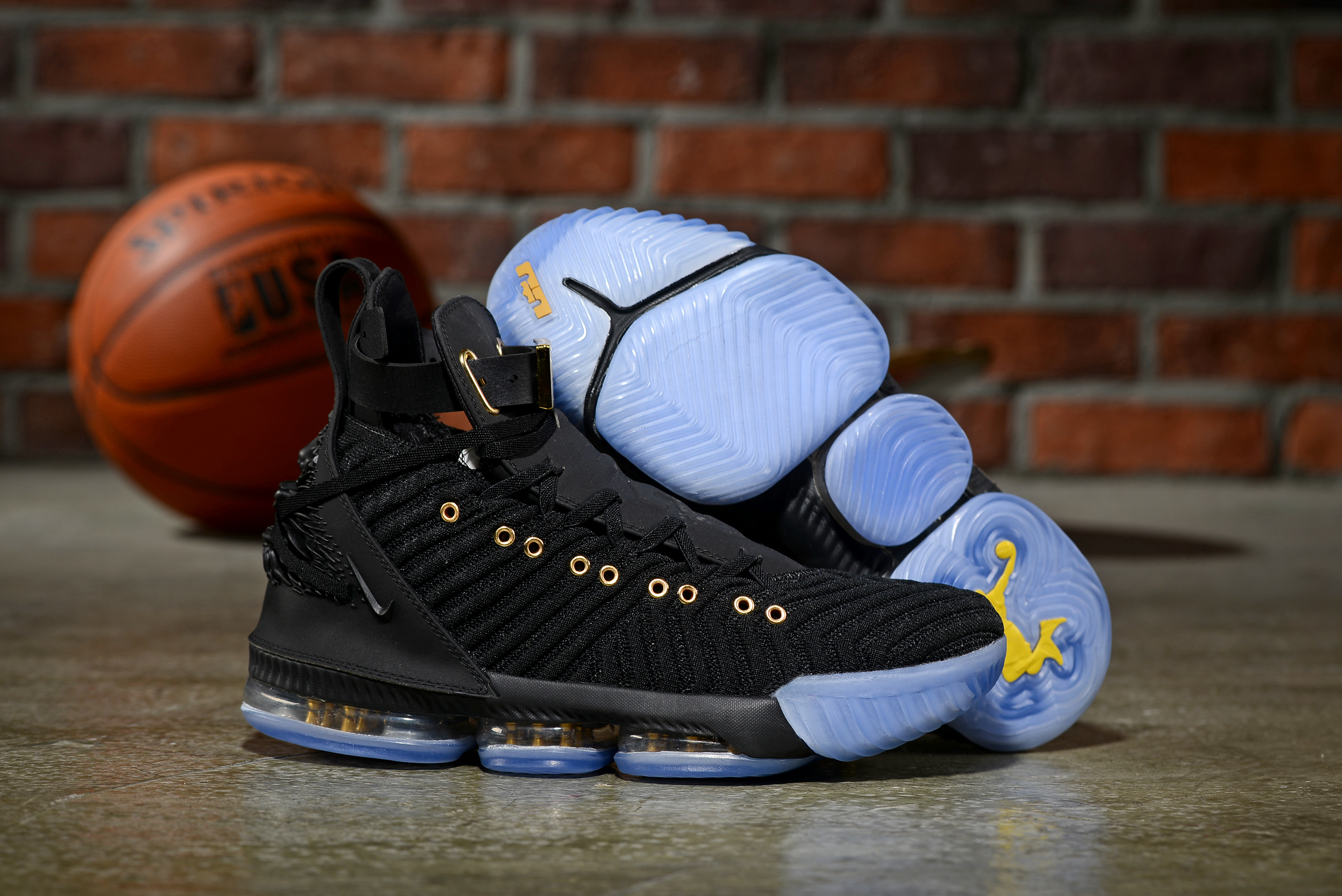Nike LeBron 16 Emboss Black Gold Gamma Blue Shoes