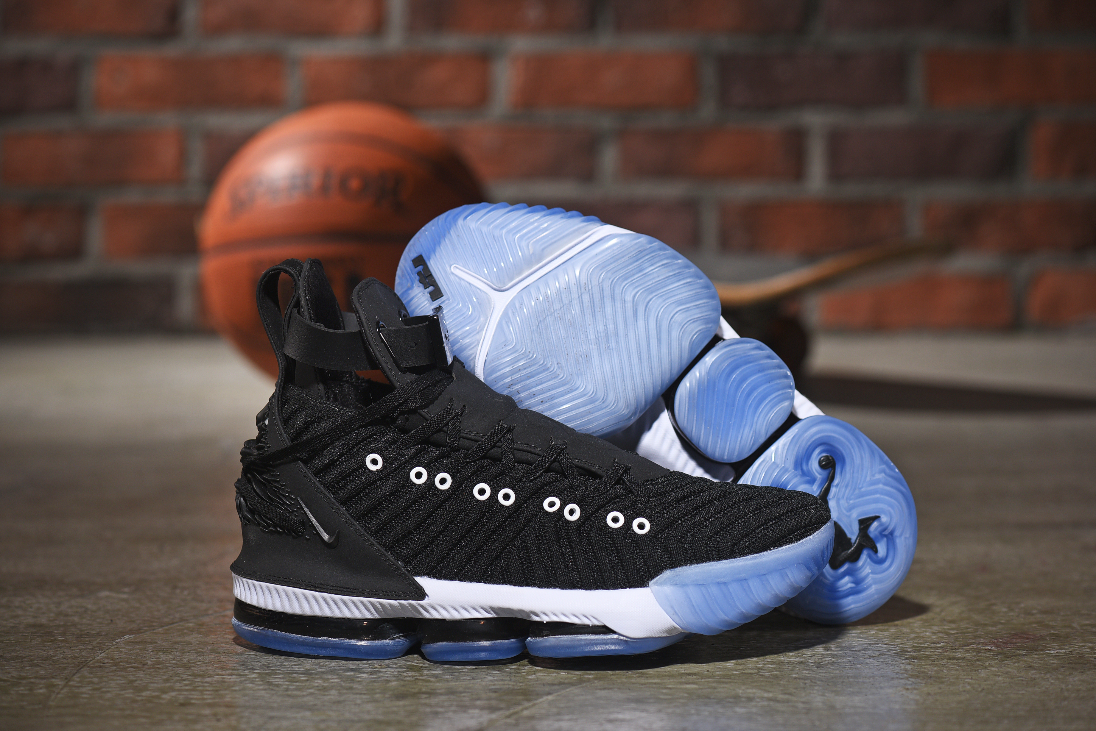 Nike LeBron 16 Emboss Black White Blue Sole Shoes