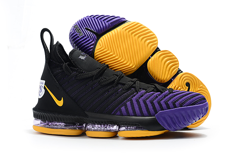 Nike LeBron 16 Lakers Black Purple Yellow Shoes