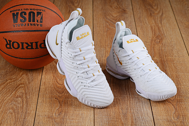 Nike LeBron 16 White Gold Shoes