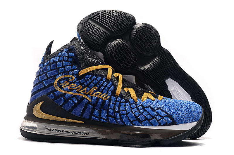 Nike LeBron 17 Blue Yellow Black Shoes