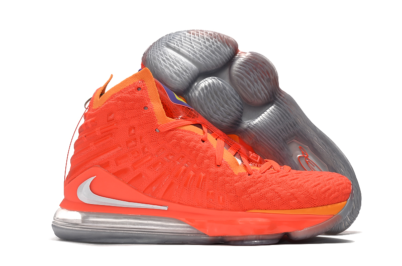 Nike LeBron 17 Orange Silver Shoes