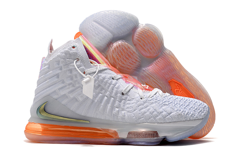 Nike LeBron 17 White Orange Shoes